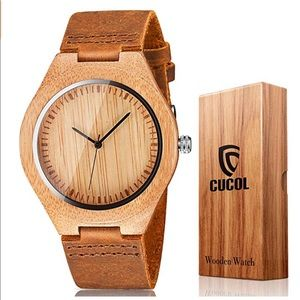 Men's Bamboo wood watch brown leather strap New